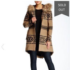BB Dakota Brenden Faux Fur Trim Coat